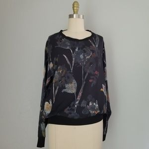Theory silk floral long sleeve blouse